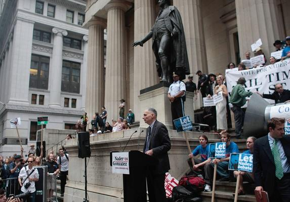 Ralph Nader Leads Protest On Wall Street | U.S. Presidential Elections 2008