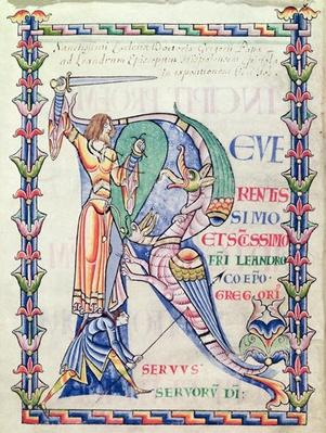 Ms 168 f.4v Historiated initial 'R' depicting a knight fighting a dragon, from 'Moralia in Job' by Pope Gregory the Great