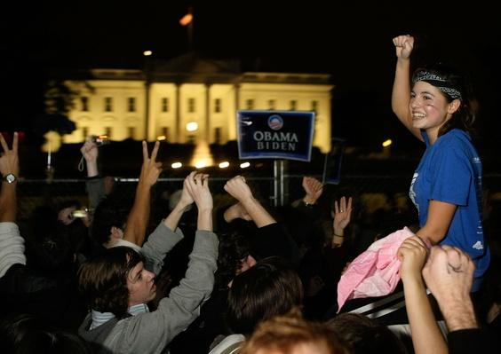 Supporters Celebrate Obama's Victory In Front Of White House | U.S. Presidential Elections 2008