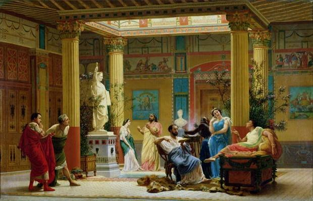 Rehearsal of 'The Fluteplayer' and 'The Diomedes' wife' in the atrium of the Pompeian house of Prince Napoleon, 18 Avenue Montaigne, Paris, 1861