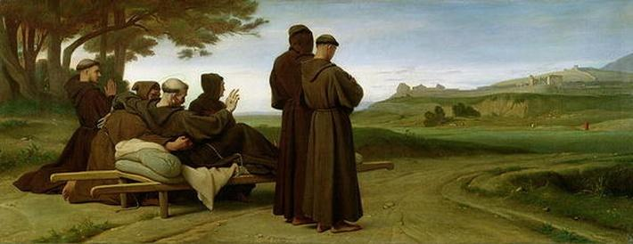 St. Francis of Assisi, while being carried to his final resting place at Saint-Marie-des-Anges, blesses the town of Assisi in 1226, 1853
