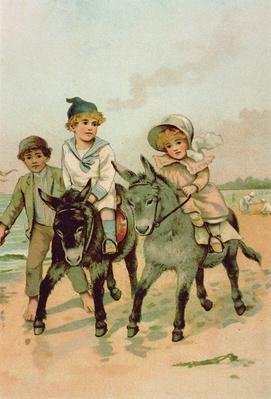 Children Riding Donkeys at the Seaside
