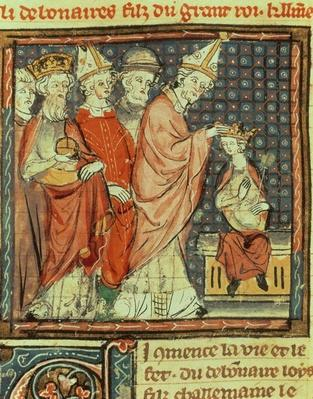 f.142r The coronation of Louis I 'the Pious'