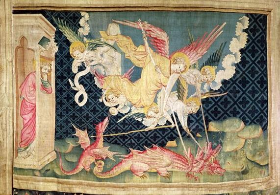St. Michael and his angels fighting the dragon, no.36 from 'The Apocalypse of Angers', 1373-87