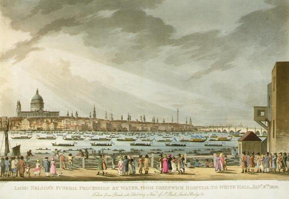 Lord Nelson's funeral procession by water from Greenwich to Whitehall from 'The History and Graphic Life of Nelson'