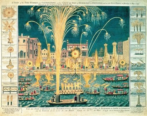A View of the Fireworks and Illuminations at his grace the Duke of Richmond's at Whitehall and on the River Thames, on Monday 15th May 1749