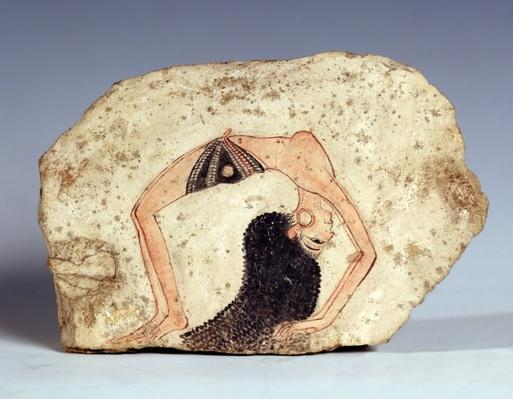 Fragment of a wall painting depicting an acrobatic dancer entertaining at court, New Kingdom, from Deir-El Medina