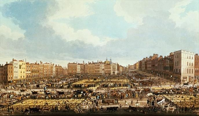 Smithfield Market, engraved by R.G. Reeve, pub. by Thomas McLean, 1831