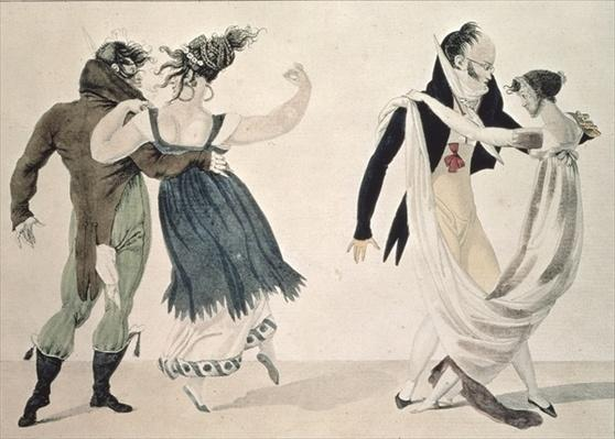 Good Form, No. 1: The Waltz, satirical cartoon, c.1820
