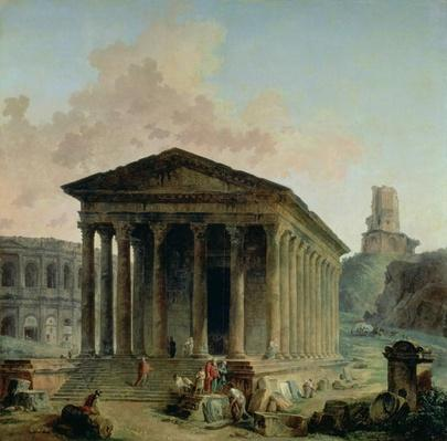 The Maison Carree with the Amphitheatre and the Tour Magne at Nimes, 1786-87