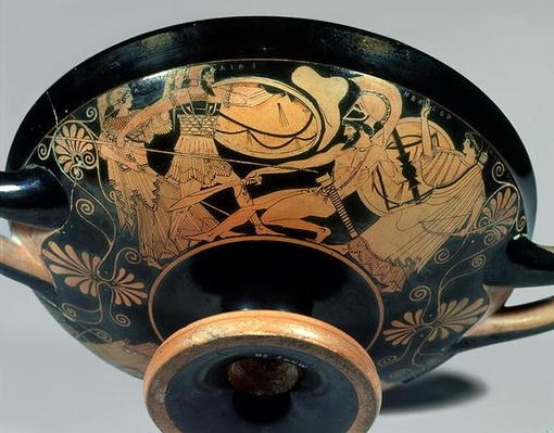 Ajax, urged on by Athena, attacks Hector to whose aid Artemis rushes, detail from the outside of an Attic red-figure cup