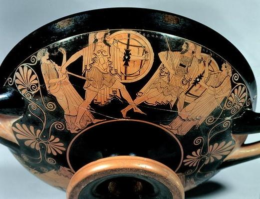Menelaos, accompanied by Aphrodite, pursues Paris who runs towards Artemis, detail from the outside of an Attic red-figure cup