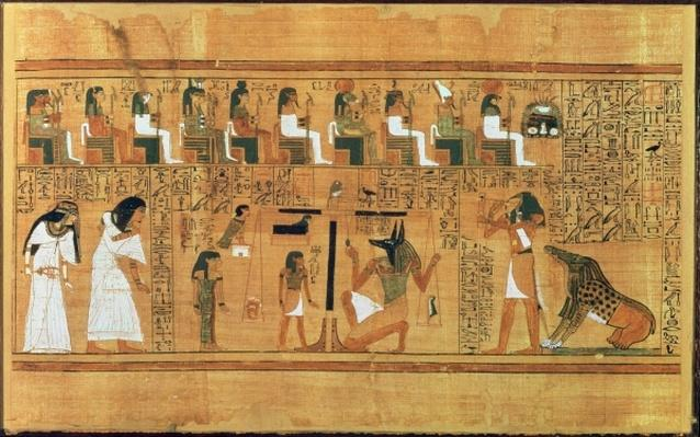 The Weighing of the Heart against the Feather of Truth, from the Book of the Dead of the Scribe Any, c.1250 BC