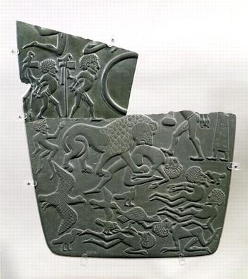 The Battlefield Palette, depicting captives and slain victims of battle, the latter preyed upon by wild animals, Late Predynastic to 1st Dynasty, c.3100 BC