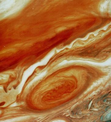 Voyager 2 image of Great Red Spot and south equatorial belt | Earth and Space