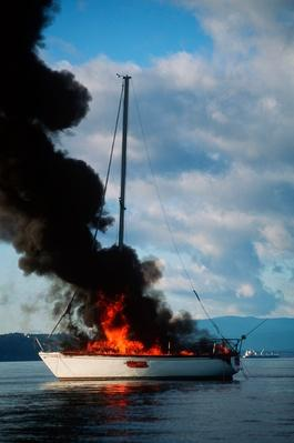 Sailboat Burning From Propane Fire | Earth's Resources