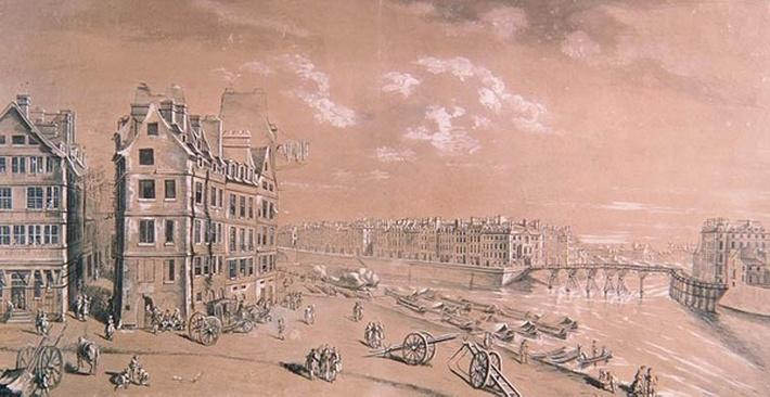 The Ile Saint-Louis and the corn docks from the Place de Greve, c.1757
