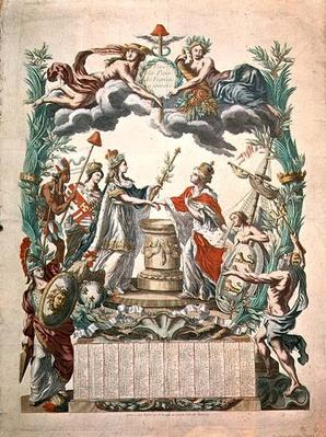 Calendar for the year of 1783 commemorating the Treaty of Versailles in 1768 in which America gained its independence