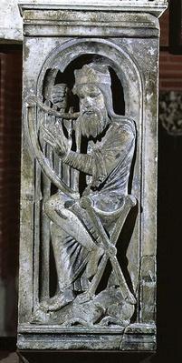 King David tuning his harp