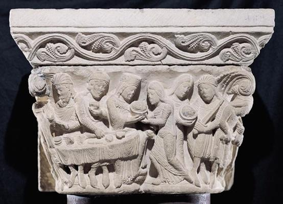 Scenes from the death of St. John the Baptist, relief from a capital