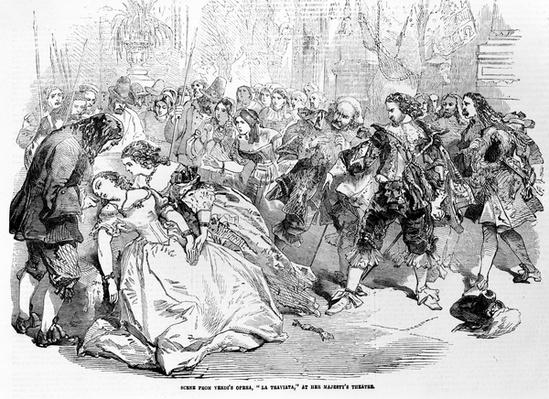 "Scene from Verdi's Opera ""La Triviata"" at Her Majesty's Theatre, 1856"