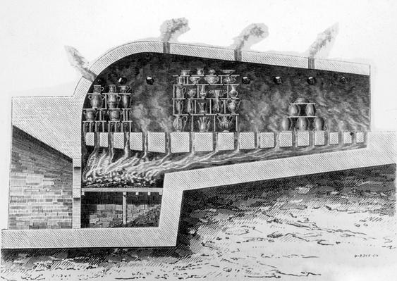 Wood kiln for baking ceramics, 1882