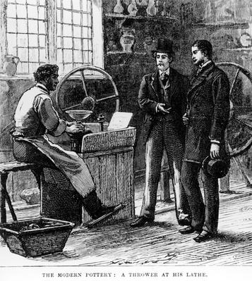 The Modern Potter: A Thrower at his lathe, 19th Century