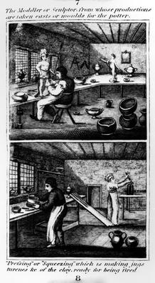 "The Moddler, taken from ""A Representation of the Manufacturing of Earthenware"", published by Ambrose Cuddon, 1827"