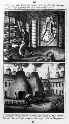 "Placing the ""dipped"" ware in the ""glazing"" oven, taken from ""A Representation of the Manufacturing of Earthenware"", published by Ambrose Cuddon, 1827"