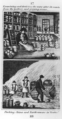 "Examining and dressing the ware, taken from ""A Representation of the Manufacturing of Earthenware"", published by Ambrose Cuddon, 1827"