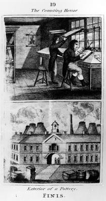 """The Counting House, taken from """"A Representation of the Manufacturing of Earthenware"""", published by Ambrose Cuddon, 1827"""