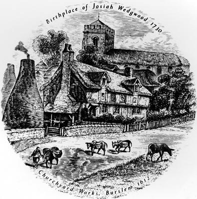 The Churchyard works and St. John's Church, Burslem, 19th Century