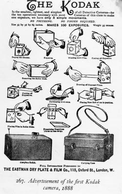 Advertisement of the first Kodak camera, 1888