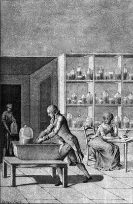 Lavoisier in his laboratory at the Arsenal, demonstrating an experiment on respiration, after a drawing by Mr. Lavoisier, 18th Century