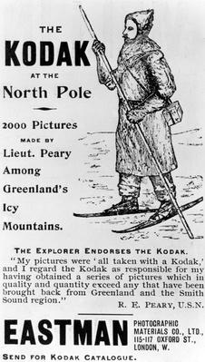 "The Explorer Endorses Kodak, taken from ""Matthew Henson: the quest for the North Pole"" by Kathleen Olmstead,1893"