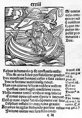 "Illustration from the ""Stultifera Navis Mortalium"" by Sebastian Brant, printed by Johannes Schenspenger, 1497"