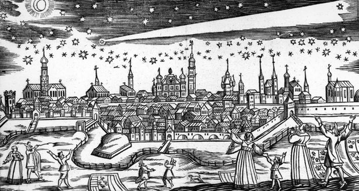 The Terrible Comet of 1680, taken from a woodcut broadsheet by Bach Abraham, 17th Century
