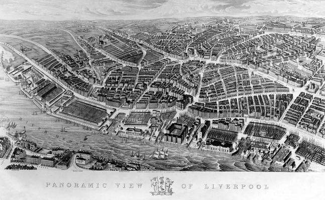 Panoramic View of Liverpool, after a watercolour by Ackerman, 1847