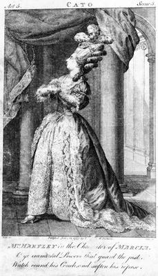 Mrs Hartley in the character of Marcia, by Dodd, published by Lowndes and Partners, 1777