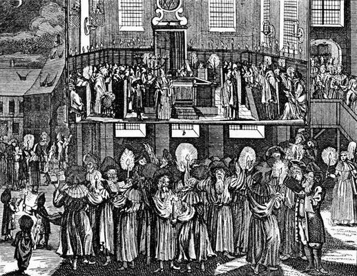 """Illustration taken from the """"J�disches Ceremonial, oder Beschreibung dererjenigen Gebrduche"""" by Paul Christian Kirchner, 1724"""