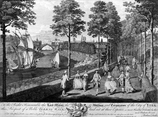 The City of York, a Noble Terrace Walk, print made by Charles Grignon, 1756
