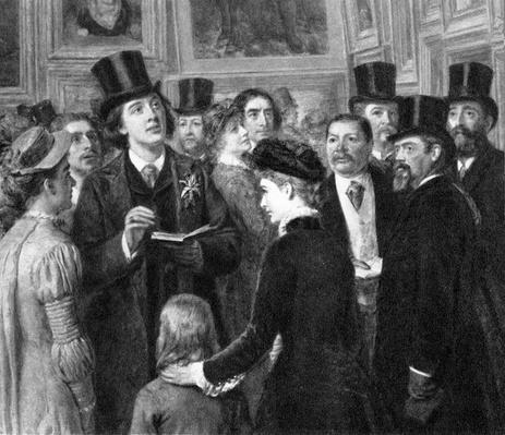 "Oscar Wilde at the Royal Academy, detail taken from ""A Private View of the Royal Academy"", 1881"