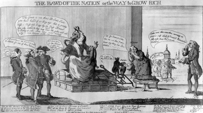 The Bawd of the Nation, or the Way to Grow Rich, published by Matthew Darly, 1757
