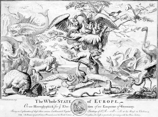 The Whole State of Europe, or An Hieroglyphick for the Election of an Emperor of Germany, 1741