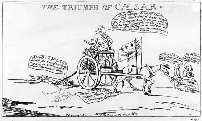 The Triumph of Caesar, published by Matthew Darly, 1757