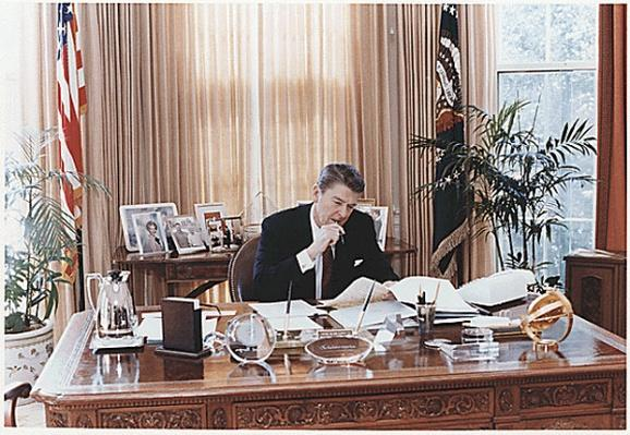 President Reagan in the Oval Office