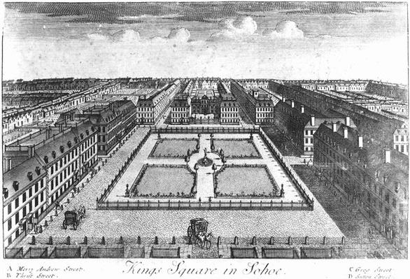 Kings Square in Sohoe, published by Thomas Glass and Henry Overton I, 1720-1730