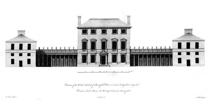 Elevation of the Rt. Honorable the Earl of Chesterfield's House, South Audley Street, Mayfair, by Matthew Darly after John Woolfe, 1767