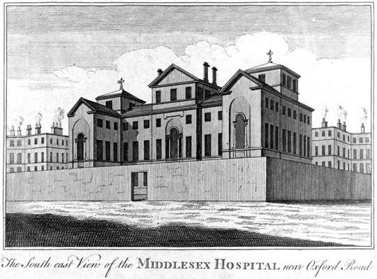 The South East View of the Middlesex Hospital near Oxford Road, 1745-1760