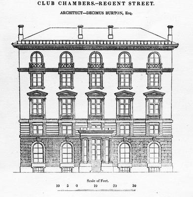 Club Chambers, Regent Street, taken from The Civil Engineer and Architect Journal, 1839
